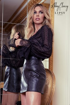 Abbey Clancy x Lipsy Leder-Minirock in Kroko-Optik