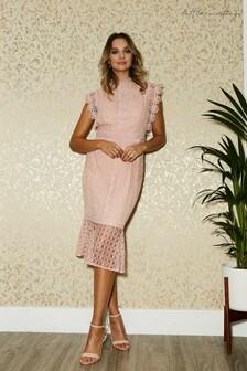 Little Mistress Latimer Lace Pephem Midi Dress