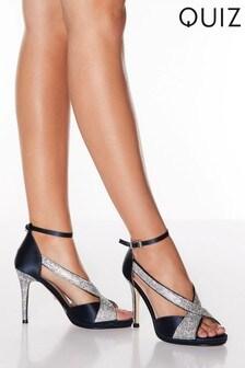 Quiz Satin Diamanté Strap Heel Sandals