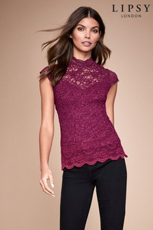 Lipsy Lace High Neck Cap Sleeve Top