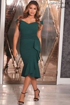 Sistaglam Loves Jessica Frill Hem Midi Dress