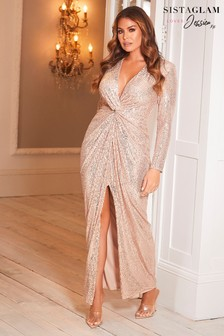 Sistaglam Loves Jessica Stretch Sequin Wrap Maxi Dress