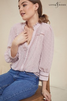 Love & Roses Frill Neck Lace Trim Blouse