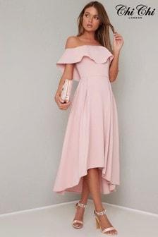 Midi šaty v bardot štýle Chi Chi London