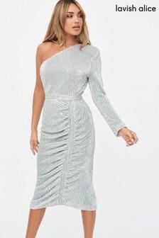 Lavish Alice One Sleeve Sequin Midi Dress