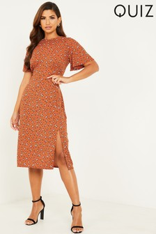 Quiz Rust Floral Print Midi Dress