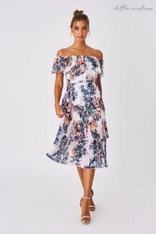Little Mistress Kimberly Floral-Print Bardot Midi Dress