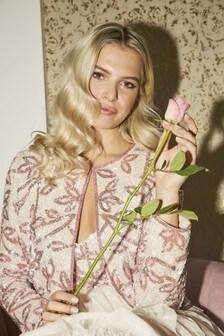 Little Mistress Fleur Floral Sequin Jacket