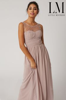 Little Mistress Grace Bridesmaid Mink Embellishment Sweetheart Maxi Dress