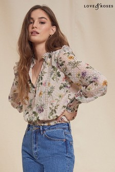 Love & Roses Shirred Hem Lace Trim Blouse
