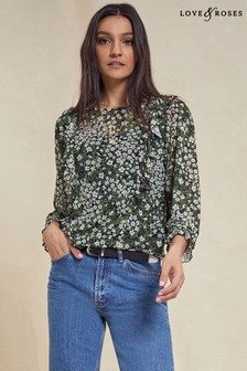 Love & Roses Printed Mesh Blouse
