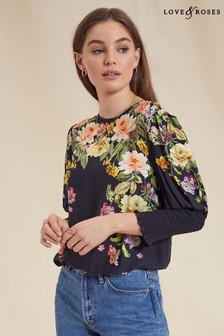 Love & Roses Printed Shirred Cuff Top