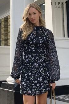 שמלת מיני של Lipsy עם שרוול ארוך ודיטיל בסיומת