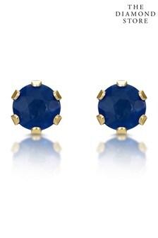 """עגילים צמודים שלThe Diamond Store בזהב צהוב9 קראט3 x 3מ""""מ"""