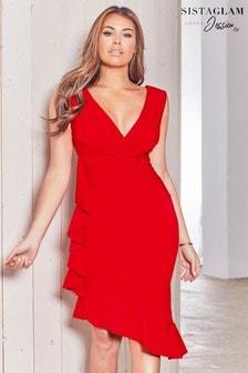 שמלת מידי צמודה עם מלמלה של Sistaglam Loves Jessica