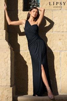 فستان ماكسي بكتف واحد براق بكشكشة منLipsy