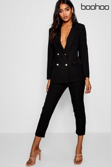Boohoo Military Button Detail Tapered Trousers