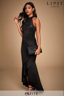Lipsy Petite Halter Cornelli Sequin Maxi Dress