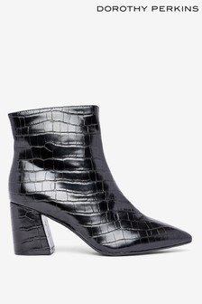 Dorothy Perkins Croc Pointed Block Heel Ankle Boots