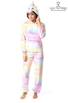 Want That Trend Deluxe Rainbow Unicorn Fleece Twosie