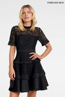 Forever New Lace Tiered Skater Dress