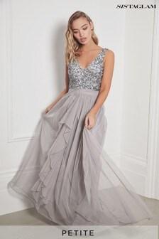 Sistaglam V neck Maxi Dress With Sequin Top