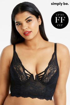 Simply Be Lauren Lace Black Half Pad Plunge Midi Bra