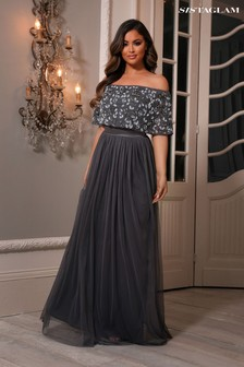 Sistaglam Bardot Embellished Maxi Dress