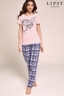 Lipsy Butterfly Print Pyjama Long Set