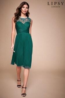 Lipsy Esme Lace Sleeve Mesh Midi Dress