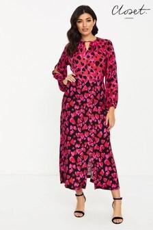 Closet Split Sleeve Heart Print Midi Dress