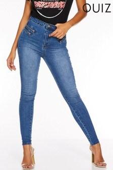 Quiz Denim Stretch Skinny Zip Detail Jeans
