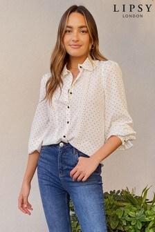 Lipsy Ruffle Collar Pintuck Shirt