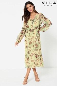 Vila - midi-jurk met lange mouwen en knopen