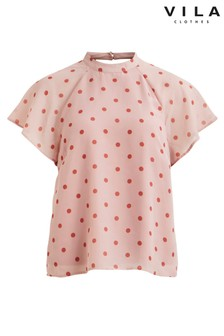 Vila Polka Dot Short Sleeved Blouse