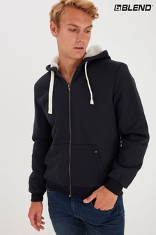 Blend Zip Through Borg Lined Hoodie