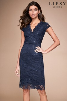 Lipsy Lace Sequin Wrap Bodycon Dress