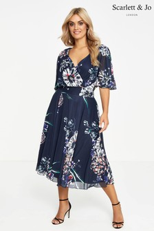 Scarlett & Jo Floral Tie Back Midi Chiffon Dress