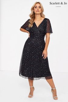 Scarlett & Jo Angel Sleeve Heart Print Midi Dress