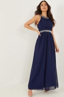 Quiz Beaded High Neck Sleeveless Maxi Dress