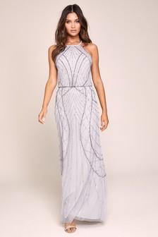 שמלת מקסי מקושטת עם צווארון קולר בעבודת ידדגם Emma של Lipsy לגבוהות