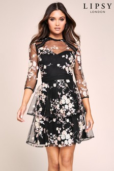 Lipsy Sequin Embroidered Tiered Skater Dress