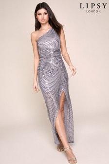 Lipsy - Lange jurk met één schouder en lovertjes