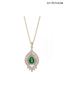Jon Richard Cubic Zirconia Emerald Green Pendant Drop Necklace - Gift Boxed