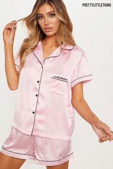 Set pijama PrettyLittleThing din satin cu mânecă scurtă