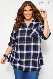 Yours Curve Zip Neck Check Shirt