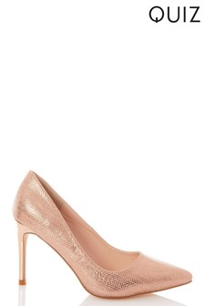 Quiz Glitter PU Herringbone Court Shoes