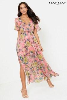Naf Naf Pleated Maxi Dress
