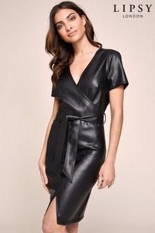 فستان جلد صناعي ملفوف منLipsy