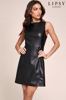 Koženkové šaty Lipsy s okrúhlym výstrihom